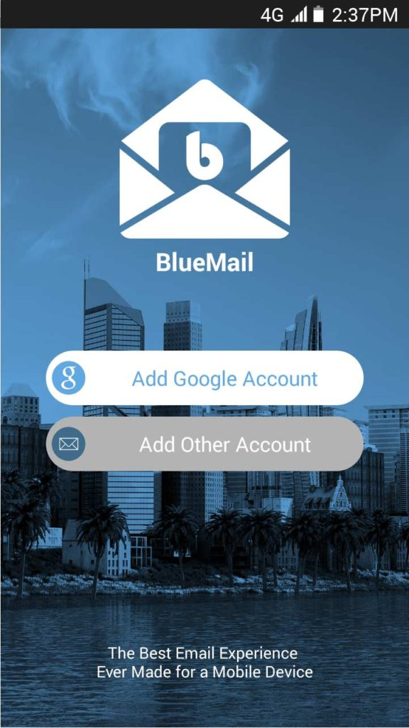 BlueMail Main Add Account